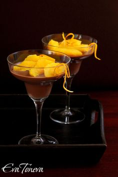 Chocolate panna cotta with oranges {recipe in Bulgarian with translator}