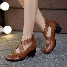 2016 Tiras Cruzadas Estilo Do Vintage Feitos À Mão das Mulheres Sapatos Bombas de Couro Genuíno Saltos Altos Apontou Toe Sapatos(China (Mainland))