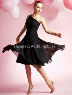 Black Chiffon One Shoulder Strap Tea Length Spring Cheap Bridesmaid Dresses Wedding Guest Gown AQ2113
