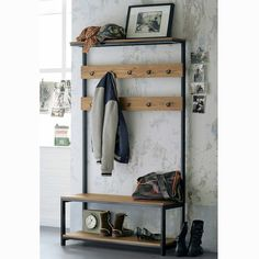 Industrial Coat and Shoe Rack Steel Frame And Wooden Top Fashion Room, Furniture, Hall Stand, Home Furnishing Accessories, Entrance Furniture, Entryway, Shoe Rack Steel, Hall Furniture, Coat And Shoe Rack