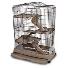 Ware Clean Living 4 Level Small Animal Cage, Brown