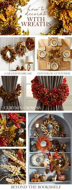 Invite the best of fall into your home with Pier 1 wreaths highlighted by the traditional signs of the season—faux leaves, berries, acorns and pumpkins—all in the rich, vibrant shades of autumn. Sure, a wreath on the front door is nice, but there are lots of other creative ways to use wreaths for a warm welcome. Come get some ideas and tips from our experts.