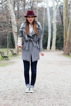 outfit look casual borsalino cappotto pinko grigio converse pelle borsa zara fashion blogger irene colzi irene closet streetstyle