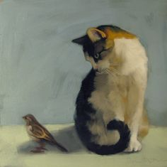 """In the Shadow"" Diane Hoeptner. Oil on wood. The artist writes: ""The subjects of this painting were photographed in two different places...The sparrow frequents the outdoor cafes at the Cleveland Zoo and kitty waits for adoption at the Cleveland Animal Protective League...  Kitty considered pouncing and decided against it."""