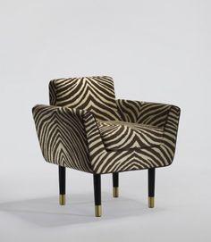 Midcentury modern zebra pint arm chair | Ralph Pucci