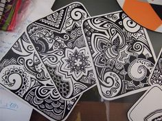Inspiration: Upcycle all those old playing card decks stashed all over my house. Find smooth Gesso to for fresh background. Great for small projects, traveling, practicing & having tangle patterns. ~ Belle}  card designs by ~yael360 on deviantART