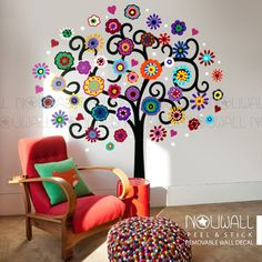 Mexican Flower Tree - big wall decal playroom wall sticker - girls room decal