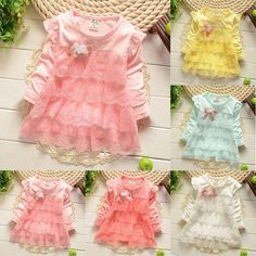 Baby Kid Girls Long Sleeve Lace Dress Pageant Party Bowknot Tutu Dress 1-4Years