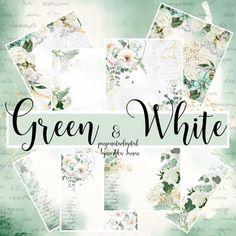Green & White zestaw papierów w kolorystyce pastelowej zieleni. Green, Paper