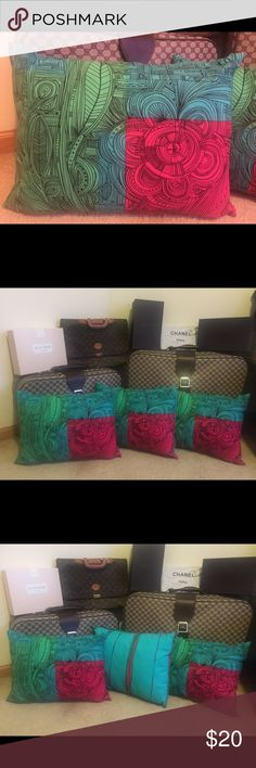 🛍🎀 3 statement pillows 🛍🎀 3 statement pillows different design on each side🎀 colors are hot pink, blue, green and black. Size: 18 x 14 inches. One pillow has two spots in the middle of the stripped side, see pictures Other