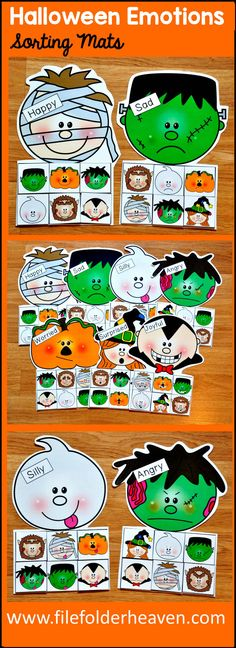 These Halloween Emotions Sorting Activities offer a fun and seasonal way for students to work on identifying emotions. This set includes 7 unique mats: Mummy, Frankenstein, Ghost, Jack-o'-lantern, Zombie, Witch, and a Vampire At an independent workstation, center or language group, students complete the following sorting and classification activities. Sorting Happy Sorting Sad Sorting Angry Sorting Silly Sorting Joyful Sorting Worried