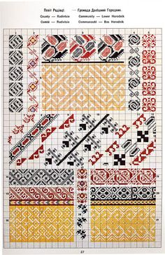 FolkCostume&Embroidery: Ukrainian and Romanian embroidery of Bukovyna-Bucovina Polish Embroidery, Folk Embroidery, Cross Stitch Embroidery, Embroidery Patterns, Cross Stitch Borders, Cross Stitch Patterns, Palestinian Embroidery, Folk Clothing, Cross Hatching