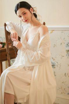 Night Gown Dress, Evening Dresses, Bridal Lingerie, Women Lingerie, Sleeping Gown, Long Sleeve Kimono, Night Dress For Women, Sleep Set, Classy Dress