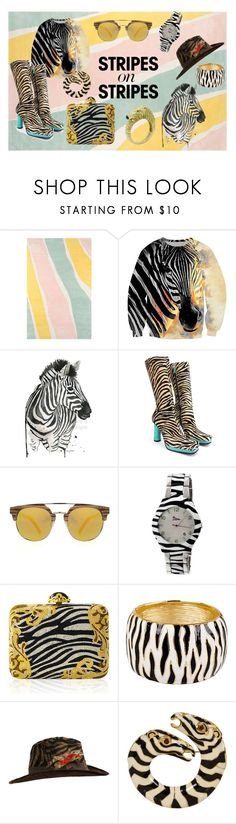 """""""Zebra"""" by melanie-lamoureux ❤ liked on Polyvore featuring Novogratz Collection, Versace, Boum, Judith Leiber, Kenneth Jay Lane, stripesonstripes and PatternChallenge"""