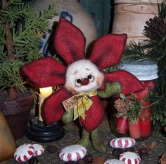 "Primitive Christmas Poinsettia Flower Bear 7"" Ornament Doll Vtg Patti's Ratties....for ordering information contact me at pattisratties3d@yahoo.com"