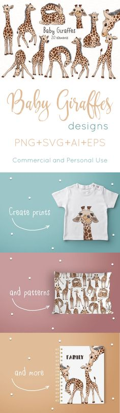 Baby Giraffes includes 20 designs, perfect for prints, giftware and patterns!  #ad #design #giraffes #baby #photoshop #coreldraw #adobeillustrator #graphicdesign #babyregistry #babyshower #babygear #logodesign #cricutmade #cricutexplore #cameo