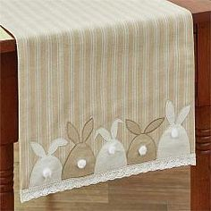 "Bunny Tails Table Runner - 42"" #easter #tablerunner #parkdesign #countrydecor #spring #chicks #bunnies"