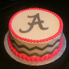 """Chevron cake....Maybe with pink chevron and yellow """"beading"""" and 2014 on top! How cute!?!"""