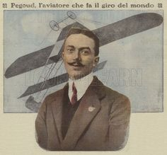 Adolphe Pegoud, French aviator. Pegoud was the first pilot to fly an aeroplane upside down and the first to master flying a loop. He became a fighter ace in the First World War but was shot down and killed in 1915 by a German pilot who he had trained before the war. Pegoud, l'aviatore che fa il giro del mondo. Illustration for La Tribuna Illustrata, 12-19 October 1913.