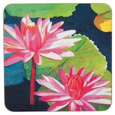 Set of four coasters with a water lily motif.    Product: Set of 4 coasters  Construction Material: MDF face and cork...