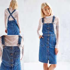 NWT BDG Cora Denim Overall Midi Dress 2 New with tag. We're in a denim daze with this overall-style midi dress from our own staple collection BDG. Fitted silhouette with cross-back straps and button-front closure with side and chest pockets. Content + Care - Cotton - Machine wash - Imported Urban Outfitters Jeans Overalls