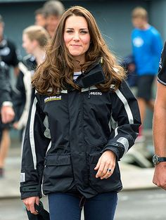 Kate in New Zealand at Auckland Harbour for a sailing race against William, April 11, 2014.