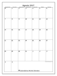 agosto 2017para imprimir, livre. Calendário mensal : Regulus (Sf). A semana começa na segunda-feira