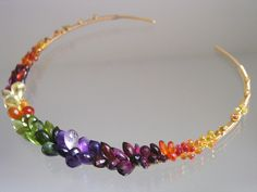 Rainbow Gemstone Encrusted Gold Filled Collar, Colorful, Sapphire, Amethyst, Peridot, Artist Made, Distinctive, Original Design, Signature by bellajewelsII on Etsy https://www.etsy.com/listing/212541113/rainbow-gemstone-encrusted-gold-filled