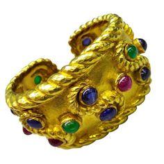David Webb 18K Yellow Gold Sapphire Emerald Ruby Cuff Bracelet