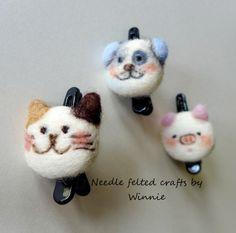Animal hair pins set of 3 cat/dog/pig needle by FunFeltByWinnie