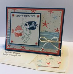 Stampin Up Seaside Shore stamp set. By the Shore DSP. Calypso Coral, Dapper Denim, Soft Sky and Very Vanilla Card stock.