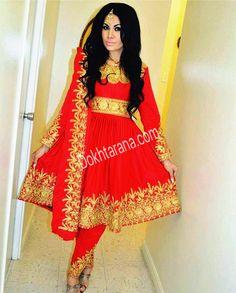 #red #gold #afghani #dress