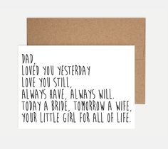 Father of the Bride Card - Wedding Card by ShortbChampers on Etsy https://www.etsy.com/listing/231601334/father-of-the-bride-card-wedding-card