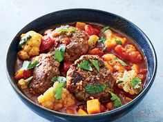 These tender meatballs have a mild, warm spice. Chopped cilantro at the end adds a nice burst of freshness. You can substitute ground chicken, if desired.