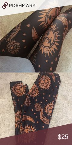 Sun and Moon Leggings Really cute with big sweaters and combat boots! Size small. Pants Leggings