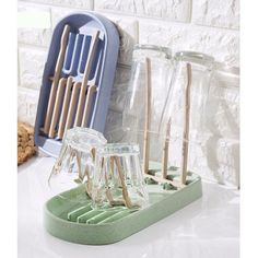 Wheat Straw Folding Glass Stand Milk Bottle Wine Glass Cup Holder Kitchen Tools