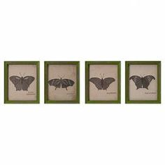"""Showcasing an embroidered design and butterfly motif, this framed wall decor brings natural appeal to your entryway or living room.  Product: Set of 4 wall decorConstruction Material: Engineered wood, cotton and linenColor: Green frameFeatures:  Embroidered designButterfly motifDimensions: 11"""" H x 9"""" W each"""