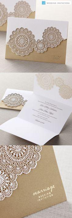 Tri-Fold Laser Cut Gold by B Wedding ... | Invitations & Paper work