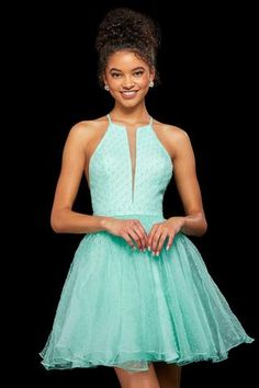 Look both sophisticated and sweet at this years homecoming dance in this ultra feminine Sherri Hill dress 53075 made in dotted swiss chiffon fabric. Turquoise Homecoming Dresses, Sherri Hill Prom Dresses Short, Prom Dresses For Teens, Grad Dresses, Blue Dresses, Buy Dress, Lace Dress, Prom Dress Stores, Designer Prom Dresses