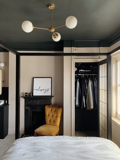 Master Bedroom Makeover — the house that black built Black Rooms, Black Walls, White Walls, Black Master Bedroom, Master Bedroom Makeover, Black Bedroom Walls, Basement Master Bedroom, Dark Ceiling, Colored Ceiling