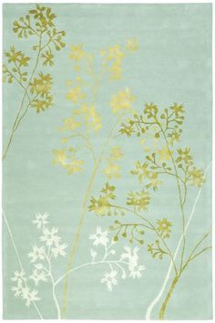 Transitional style rug with nature pattern in light blue, green, and yellow.