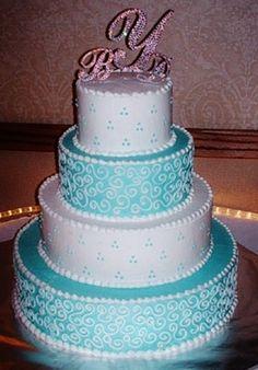 Tiffany blue & Rhinestone cake topper
