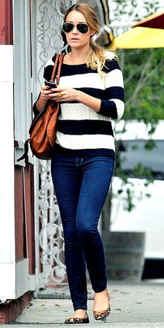 LC:  Love the mix of nautical stripes on the sweater and leopard print ballet flats.