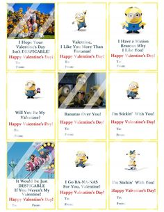 Despicable Me Minions Valentines Day Cards #7 (instant download or printed)