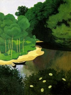 """The Dordogne at Carrenac"" ""La Dordogne a Carrenac"" (1925) By Félix Edouard Vallotton, from Lausanne, Switzerland (1865 - 1925) - oil on canvas; 73 x 60 cm - Private Collection"