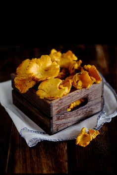 Chanterelles - love the lighting in this shot and how it emphasises the colour of the mushrooms