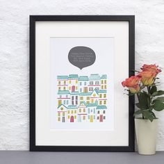 Colourful New Home Personalised Print - by Jessica Hogarth Designs. Available from Not on the High Street
