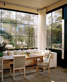 breakfast nook / dining / modern home decor / interior design Sweet Home, French Kitchen Decor, Tall Windows, Ceiling Windows, Corner Windows, Dining Room Windows, Iron Windows, House Windows, Ceiling Fan