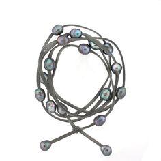 Pearl and Suede Warp-around bracelet