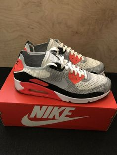 check out b607d b7b08 Nike Air Max 90 Ultra 2.0 Flyknit Infrared 875943-100 White Grey Black Sz.